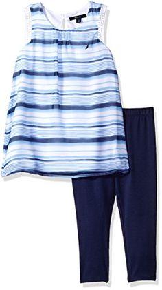 07d59e61d416f Nautica Big Girls Stripe Chiffon Top with Capri Legging Set Navy 10 -- Find  out