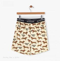 Hatley Men s Boxers WIENER DOG  doxie dachshund Novelty Underwear Father's Day