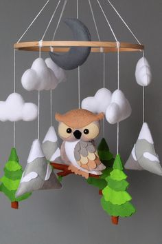 Boy Mobile, Baby Crib Mobile, Baby Cribs, Owl Nursery Decor, Nursery Crib, Woodland Mobile, Woodland Baby, Baby Owls, Baby Boy