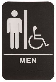 Men Restroom Sign Black/White - ADA Compliant by Rock Ridge. $8.99. Men's Restroom Black - White Sign Includes Wheelchair Accessible Depiction