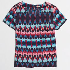 EUC factory printed blouse Printed tee in blue multi. In like new condition. J. Crew Tops Blouses