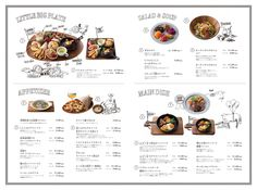 Very clear layout. Love the complimenting illustrations of the food and the cartoons.Very clear layout. Love the complimenting illustrations of the food and the cartoons. Food Graphic Design, Food Menu Design, Restaurant Menu Design, Web Design, Restaurant Identity, Restaurant Restaurant, Menu Layout, Menu Book, Menu Boards