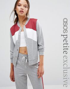 Image 1 of ASOS PETITE Lounge Bomber Jacket in Colourblock Co-ord
