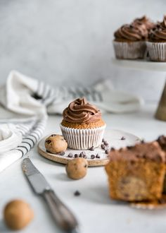 Grain Free Cookie Dough Cupcakes {and why you should celebrate Galentine's Day} Cupcake Photography, Food Photography Props, Mini Chocolate Chips, Chocolate Frosting, Baking Recipes, Dessert Recipes, Healthy Recipes, Cookie Dough Cupcakes, Aesthetic Food