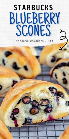 This copycat Starbucks blueberry scones recipe has the best texture and is even better than those yummy ones you can get at Starbucks! They are crumbly on the outside but moist on the inside. Follow Food Folks and Fun for more easy recipes ideas!