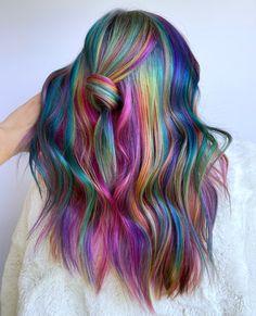 Bold Hair Color, Pretty Hair Color, Hair Dye Colors, Hidden Rainbow Hair, Rainbow Dyed Hair, Rainbow Hair Highlights, Rave Hair, Hair Tonic, Dye My Hair