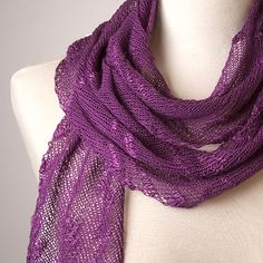 This brilliant scarf is soft and lengthy, in an open knit that is perfect for multi-season wear. Uses 3 skeins Risoni silk thick and thin.  Kit with yarn and pattern:  $33