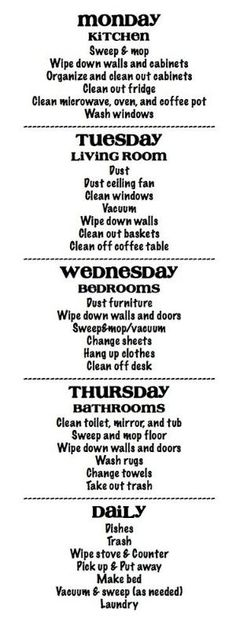 13 Quick Cleaning Tips: Clean Your House Fast 13 Quick Cleaning Tips: Clean Your House Fast,Haushalt Cleaning Schedule – lots of chores assigned each day, but I think once you get in the habit,. Diy Cleaning Products, Cleaning Solutions, Cleaning Hacks, Cleaning Schedules, Cleaning Checklist, Organizing Tips, Cleaning Routines, Deep Cleaning, Apartment Cleaning Schedule