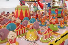 Circus 1st Birthday Cake, cupcakes and cookies