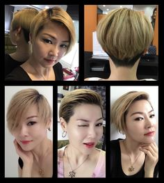 blonde short bob haircut in variation combing style