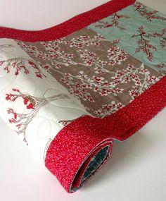 Winter Table Runner, Rustic Quilted Table Runner, Christmas Table Runner, Winters Lane Fabric, Moda, Handmade Table Runner, Mistletoe, Red on Etsy, $38.00