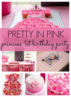 Pretty in Pink 1st birthday party with a fun princess dress cupcake cake! - Pretty My Party #firstbirthday #prettyinpink #princess #girlparty #birthdayparty #partyideas #partyplanning