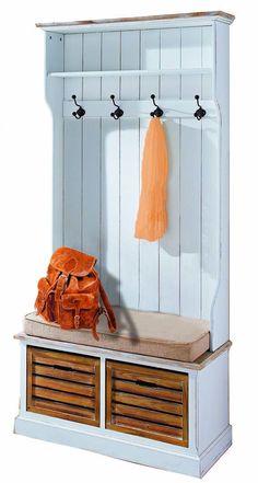 garderobe mit sitzbank antik wei landhaus truhenbank truhe kommode flurkommode. Black Bedroom Furniture Sets. Home Design Ideas