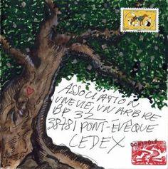 enveloppe  d'Yves OLRY un artiste ami de l'Association depuis plusieurs années.