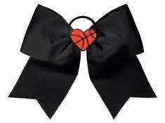 It's basketball season! Cheer on your team with this adorable cheerleader basketball hair bow. Football Hair Bows, Cheerleading Hair Bows, Cheerleading Jumps, Cheer Stunts, Cheer Socks, Basketball Hairstyles, Basketball Season, Basketball Court, Cheer Hair