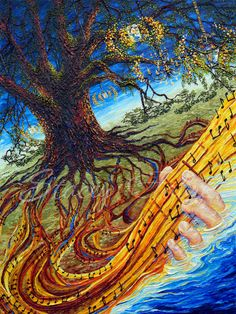 Music is so rooted in our culture in South Louisiana that it comes from the very land beneath our feet. This image was used for the 11th annual Voice of the Wetlands Festival in Houma, LA 2014.  'Enchanted Serenade' stretched canvas giclee by StaceyFabre.