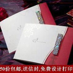 Chinese Red Etching Watermark Birthday/Business Wedding Invitation Card Invites Free Envelope/Printing Freeshipping W1118 US $48.15