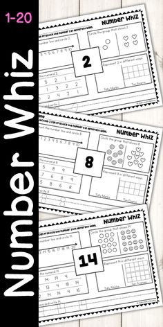 Teaching and reinforcing numbers just got much easier! A must have for your classroom, this resource includes counting on a number line, counting sets of objects, identifying numbers 1-20, representing numbers 1-20, using Tally Marks and Ten Frames, Tracing 1-20, Writing 1-20.  Build foundational number sense with this clean, consistent design!