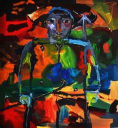 """Raonel Puente  – Artista cubano ganha projeção através da obra """"Guerrero, c."""" de 1998, e eleva ao expoente máximo o expressionismo nesta exposição de Arte Latino Americana. """"Guerrero, c."""", de 1998 – Nesta obra a alteração das cores e da forma, características fundamentais do Expressionismo, ganham contornos de Guerreiro, num insistente """"ataque à tela"""" visível pela desordeira utilização das cores e nítidas pinceladas do artista."""