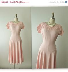 STOREWIDE SALE 50's Linen Dress // Vintage 1940's Pink Linen Garden Party Swing Dress S on Etsy, $57.60