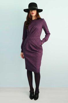 Women's cotton jacquard purple dress with long sleeves Pencil dress