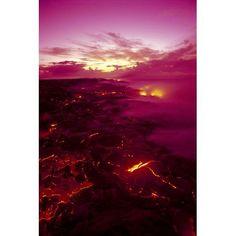 Hawaii Big Island Hawaii Volcanoes National Park Near Kamoamoa Kilauea Volcano Lava Flow At Dawn Glowing Pink Sky Smoky Canvas Art - Ron Dahlquist Design Pics (12 x 19)