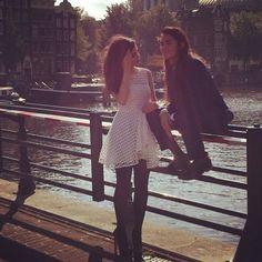 Sofia Carson and Booboo Stewart in Amsterdam - I love Sofia's Dress!! So Cute!