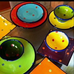 I love these multicolored polka-dotted hand painted dishes my uncle bought from a New Zealand potter.
