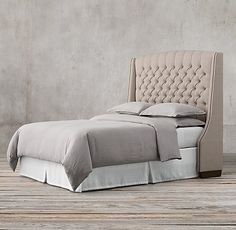 RH's Warner Tufted Fabric Headboard With Nailheads:Like the classic wing chair it evokes, the sumptuously padded Warner bed invites you to linger. Kaizen, Bedding Master Bedroom, Bedroom Decor, Bedroom Ideas, Bed Without Footboard, Nailhead Headboard, Headboards, Hanover House, Tufted Bed