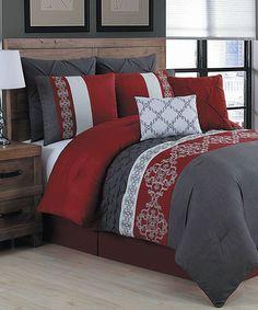 Loving this Red Alessandra Eight-Piece Comforter Set on #zulily! #zulilyfinds