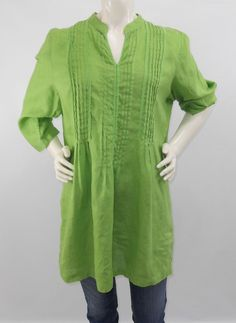 26ad5e39335 J Jill 100% Linen Pintuck Pleated Tunic Crochet Lace 3 4 Sleeve Green Sz