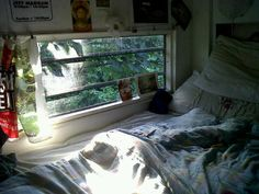 I love this sweet little nook. Every bed nook should have a window for watching the rain fall.