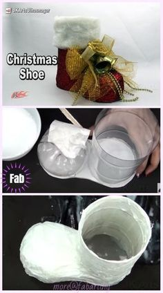 Weihnachten Basteln: Diy Plastikflasche Santa Boots Holder Tutorial – Video Christmas crafts: DIY plastic bottle Santa Boots Holder Tutorial – Video easy diy christmas crafts for kids – Kids Crafts Christmas Shoes, Christmas Crafts For Kids, Christmas Art, Christmas Ornaments, Santa Crafts, Christmas Island, Recycled Christmas Decorations, Easy Ornaments, Vintage Christmas