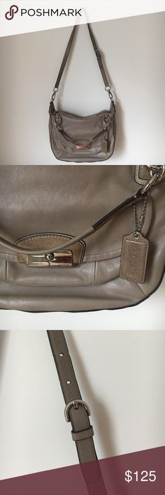 COACH Crossbody Leather Purse - COACH Crossbody Leather Purse     - Taupe colored genuine leather purse with silver hardware and pink satin lining. Zip closure bag. Front flap pocket, two open pockets and one zip closure pocket within.   - 100% authentic COACH purse   - Excellent condition. No scuffs, tarnishing, rips, stains, or fraying. One small pen mark above handle measuring roughly half an inch. Can be rehabilitated. Coach Bags Crossbody Bags