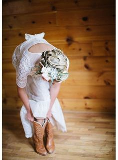 Cowboy boots for wedding - bride in cowboy boots {Carrie King Photographer}