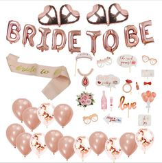 Bride to be Balloon Package,Bridal Shower decorations, bride to be sash, Bride Shower Photo Booth Props, Rose Gold Hen Party Set - Option This Bridal Shower decoration set includes: Bride to be Balloons: 1 pack ( including 9 le - Bridal Shower Props, Bridal Shower Balloons, Bridal Shower Planning, Bride Shower, Gold Bridal Showers, Hen Party Balloons, Bride To Be Decorations, Hen Party Decorations, Bachelorette Party Decorations