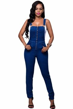 759fab68174e Women Strap Jumpsuits Slim Full Length Pants Zipper Casual Party Overalls