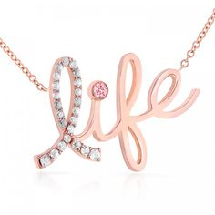 Show your love and immeasurable support for all women fighting against the battle in life, by wearing this symbolic Kobelli necklace made of 14K rose gold. 25 round-cut diamonds are adorning the capt