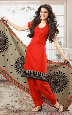 #Orange Cotton #Designer #Salwar Kameez