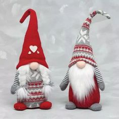 ZiaBella 15 Red & Gray Fair Isle Gnome Figurine - Set of Two Woodland Christmas, Christmas Gnome, Christmas Makes, Handmade Christmas, Christmas Stockings, Christmas Crafts, Christmas Decorations, Christmas Ornaments, Girl Gnome