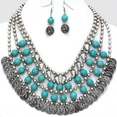 Western Metal Coins Spikes Turquoise Beads ST Bib Fashion Necklace Set  Jewelry #FashionJewelry
