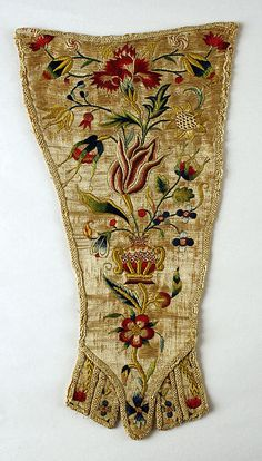 Stomacher Date: 1700–1725 Culture: German Medium: silk Dimensions: Length: 11 1/2 x 6 3/4 in. (29.2 x 17.1 cm) Credit Line: Gift of Ernest Schernikow, 1917 Accession Number: 17.19.1