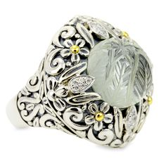 """Carved Green Amethyst Ring Set in Sterling Silver & 18K Gold Accents """" 