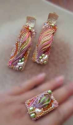 PRETTY TO DO PENDANT WITH POLYMER AND PEARLS, ETC...................................~~Bead-Embroidery, Shibori Silk Earrings and Ring | Serena Di Mercione Jewelry~~ by Dreamer2