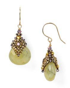 Miguel Ases Swarovski Green Rutilated Quartz Drop Earrings   Bloomingdale's