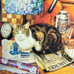 Tiffany by Geoff Tristam ~ cat resting on vintage magazines with tiffany lamp
