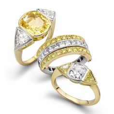 3 Ring Group in #Yellow by Julia Lloyd George http://www.fldesignerguides.co.uk/engagement-ring-designer/julia-lloyd-george Yellow Engagement Rings, Designer Engagement Rings, Yellow Wedding, Disappointed, Wedding Accessories, Diamond Rings, Bling Bling, Third, Jewelery