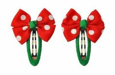 """Little Patootique Cute Red Polka Dot Lola Snap Hair Clip (Set of 2), Hair Accessories by Little Patootique. $8.00. Polyester grosgrain ribbon, metal, hand crafted, imported.. The ultimate accessory, each bow is made with our quality grosgrain ribbon and attached to a single snap hair clip. The bows are angle cut, twisted boutique bows made with 7/8"""" ribbon. The center is a 1/4"""" smooth center. Come in pairs.. Age: 3 years and up.. Approx. total length and width: 2.5"""" x 2""""....."""