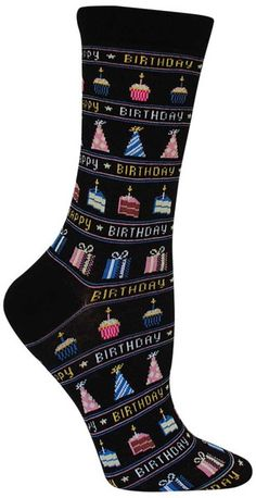 Cake! Gifts! Party Hats! Cupcakes! Happy Birthday!!!!! These crew length socks have everything needed to celebrate - available with a white or a black background. Fits a women's shoe size 5-10.