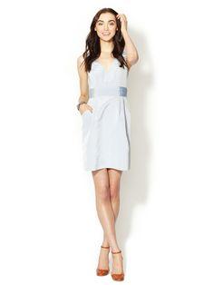 love this dress.  Shoshanna edeline striped pleated waist dress